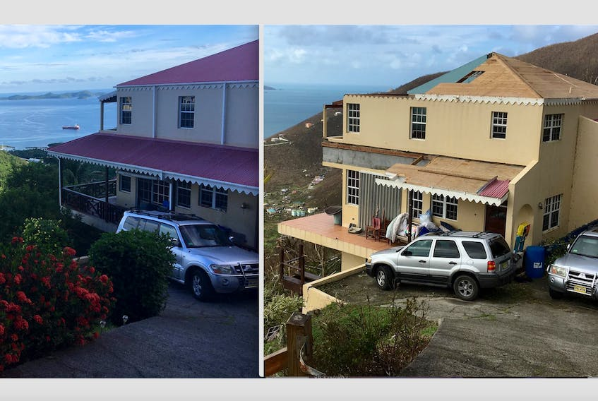 """Gary Cottreau's home in Tortola prior to Irma (left). Cottreau's home in Tortola after Irma (right). The storm left rooms upstairs """"a complete disaster."""""""