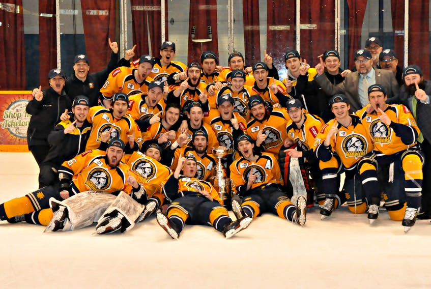 The Yarmouth Mariners are the 2018-2019 MHL Canadian Tire Cup League Champions. TREVOR MCNALLY PHOTO
