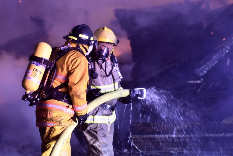 A blaze destroyed a building at 212 Main Street in Yarmouth in 2019. Several departments responded to the mutual aid call. TINA COMEAU PHOTO