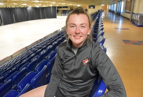Sitting inside the Yarmouth Mariners Centre where she grew up playing minor hockey, and most recently assisted with a hockey school for minor hockey players, Allie Munroe says she is excited to be heading to Sweden to play pro hockey this upcoming hockey season. TINA COMEAU PHOTO