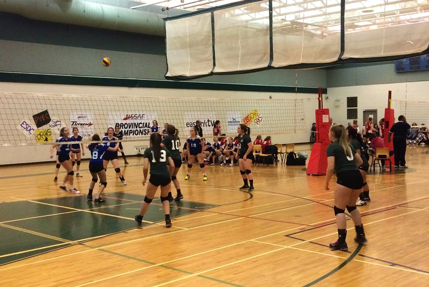 Digby Regional High School (green jerseys) squared off against Clare High School on Nov. 24 during the provincial tournament held at DRHS. JAMES MALLORY