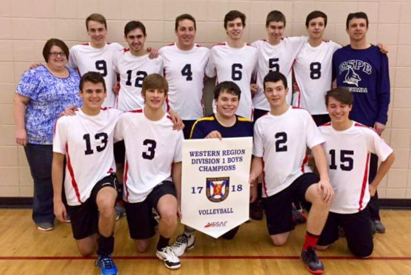 The Par-en-Bas senior boys after winning the division 1 western regional volleyball title. The is coached by Claudette Deveau (back row, far left) and Jamie Cottreau (far right) CONTRIBUTED PHOTO