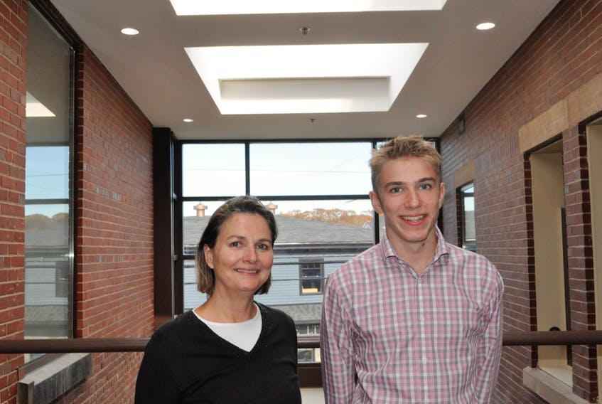Cameron Oikle, right, got to learn about being the mayor of Kentville on Nov. 1 during Take Our Kids to Work Day. He shadowed Mayor Sandra Snow for the day, which gives students the opportunity to learn about careers. - Zoe Anderson Gillis photo