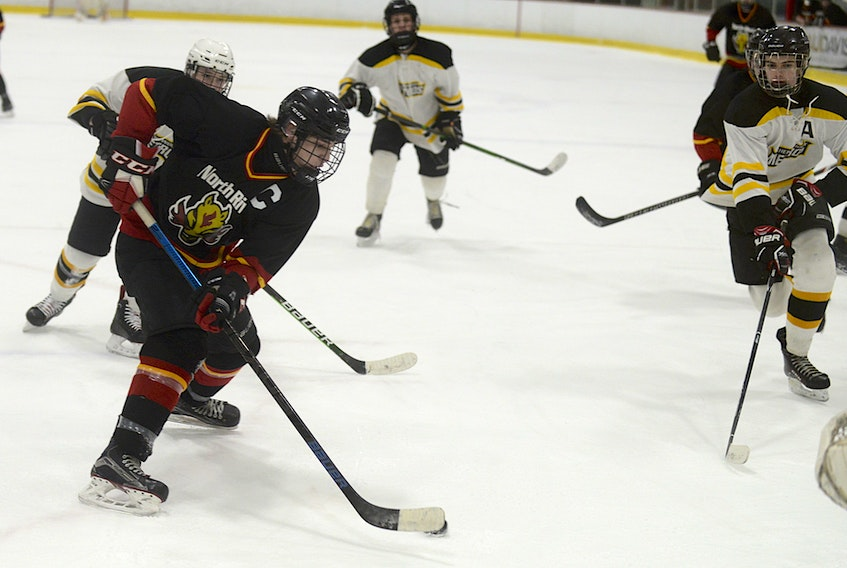 North River Flames captain Zac MacKay cuts to the front of the net against the Sherwood Metros Tuesday in Razzy's P.E.I. Junior C Hockey League action at the APM Centre in Cornwall.