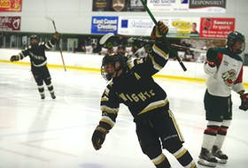 Charlottetown Bulk Carriers Knights right-winger Connor Keough celebrates his game-winning goal Saturday at MacLauchlan Arena in Game 1 of the P.E.I. major under-18 hockey final.
