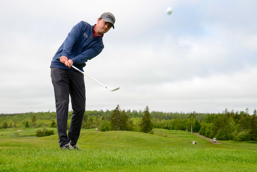 Brodie Ward works on his chipping Wednesday at Andersons Creek Golf Club in preparation for the Cooke Insurance P.E.I. Amateur at Eagles Glenn of Cavendish.