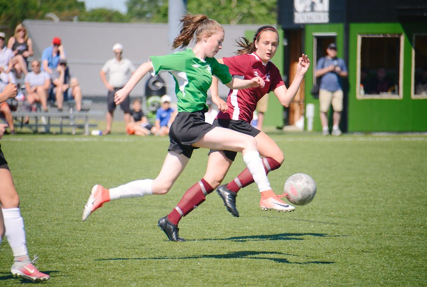 Prince Edward Island's Alice Dorsey plays a ball Sunday in the bronze-medal game against Newfoundland and Labrador at the Atlantic under-14 soccer championships at UPEI.
