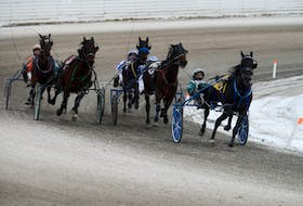 J F Cowboy with Kenny Murphy in the sulky, left, make a charge from the back to win Race 8 Saturday at Red Shores at the Charlottetown Driving Park.