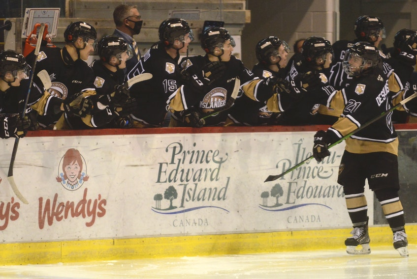 Cédric Desruisseaux celebrates his second goal of the game Saturday at the Eastlink Centre with his Charlottetown Islanders' teammates.