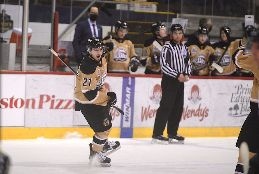Charlottetown Islanders winger Cedric Desruisseaux celebrates his 26th goal of the season Friday against the Halifax Mooseheads at the Eastlink Centre.