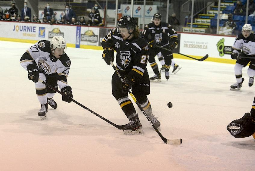 Charlottetown Islanders winger Brendan McCarthy, left, pots a rebound Saturday against the Cape Breton Eagles in Quebec Major Junior Hockey League play at the Eastlink Centre.