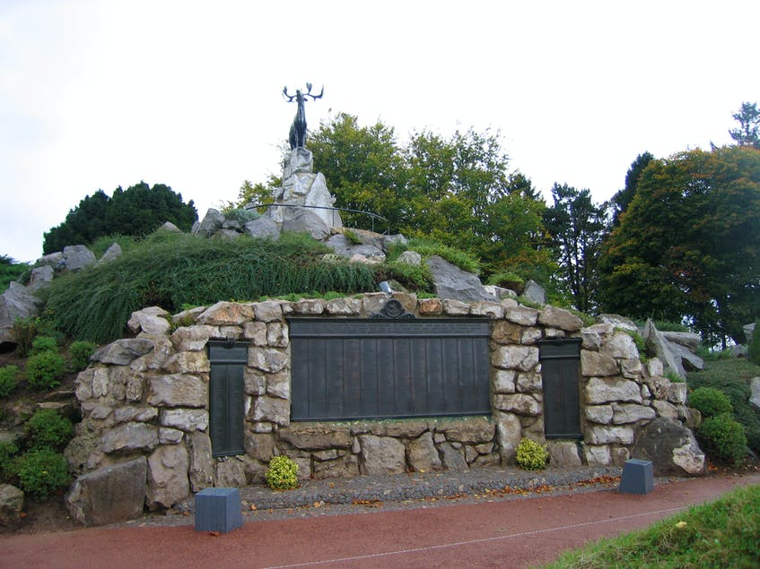 The monument of the caribou — the emblem of the Royal Newfoundland Regiment — stands on the highest point overlooking the former battlefield at the Newfoundland Beaumont Hamel Memorial Park in France. At the base of the statue, three bronze tablets bear the names of more than 800 Newfoundland and Labrador soldiers who died during the First World War. — File photo By Glen Whiffen/The Telegram