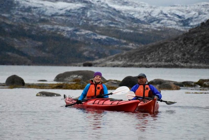 The Nunatsiavut government and the federal government have signed a Statement of Intent, with the intention of protecting the waters within the Nunatsiavut land claim area. Two of the signatories are Catherine McKenna, the Minister of Environment and Climate Change and Minister responsible for Parks Canada (left) and Nunatsiavut President Johannes Lampe.
