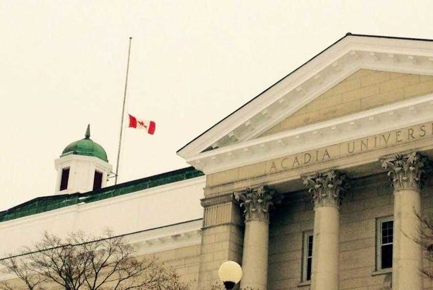 Acadia's flag flew at half mast Feb. 1