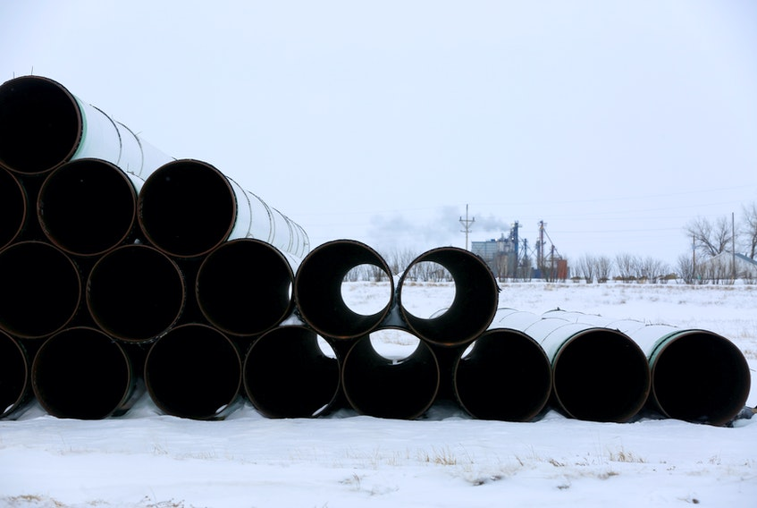 Pipes for the planned Keystone XL oil pipeline are stored in Gascoyne, N.D. REUTERS/Terray Sylvester/File Photo