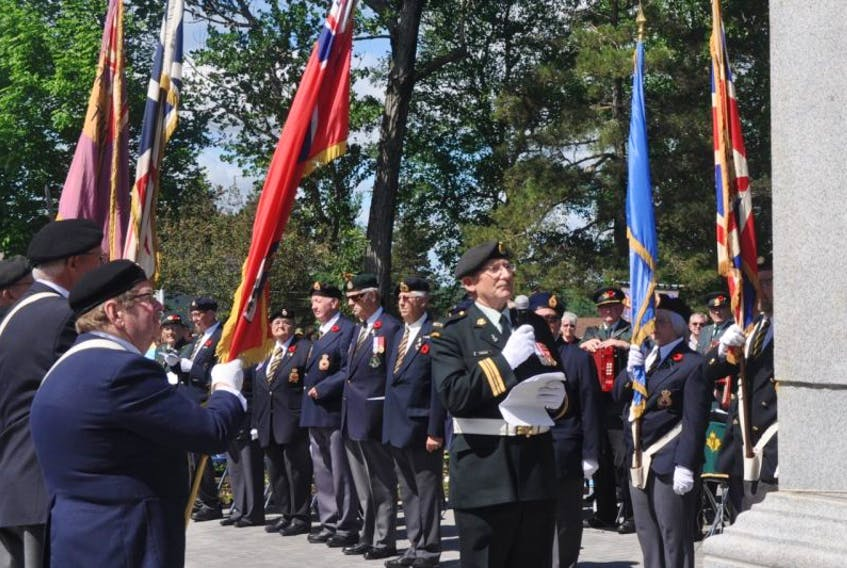 Royal Canadian Legion Branch 12 will organize and lead Memorial Day parade activities in town on June 25. Pictured are officials at last year's ceremony.