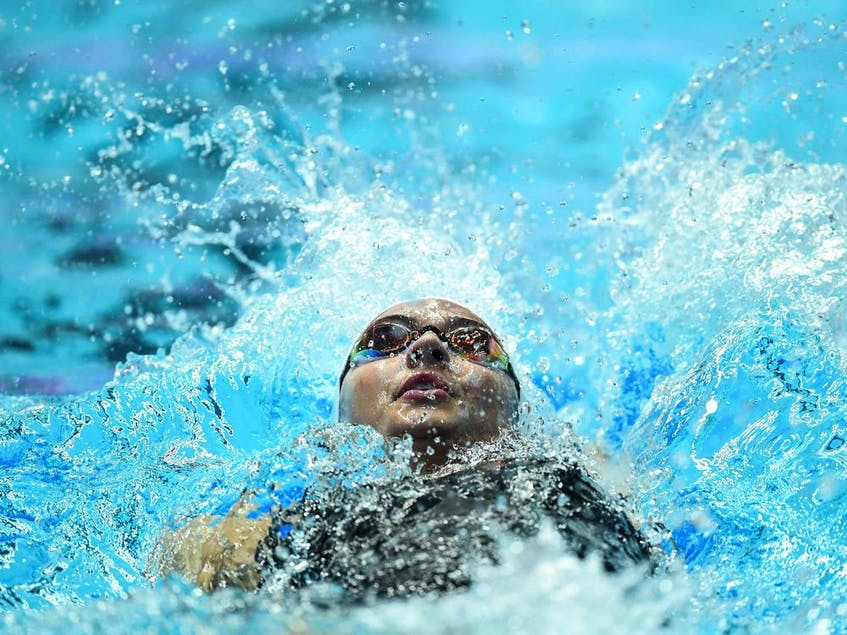 LaSalle's Kylie Masse competes in the semi-final of the women's 200m backstroke event during the swimming competition at the 2019 World Championships at Nambu University Municipal Aquatics Center in Gwangju, South Korea, on July 26, 2019. - MANAN  VATSYAYANA