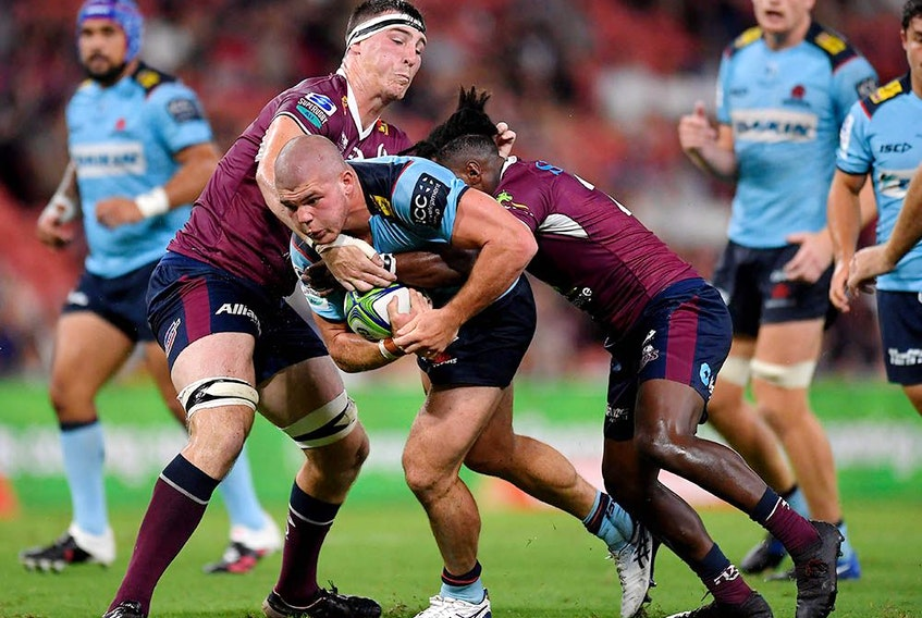 Action from a Super Rugby match between the Queensland Reds and NSW Waratahs at Suncorp Stadium in Brisbane on Feb. 19, 2021. It's unclear whether rights to the matches will get picked up in Canada.