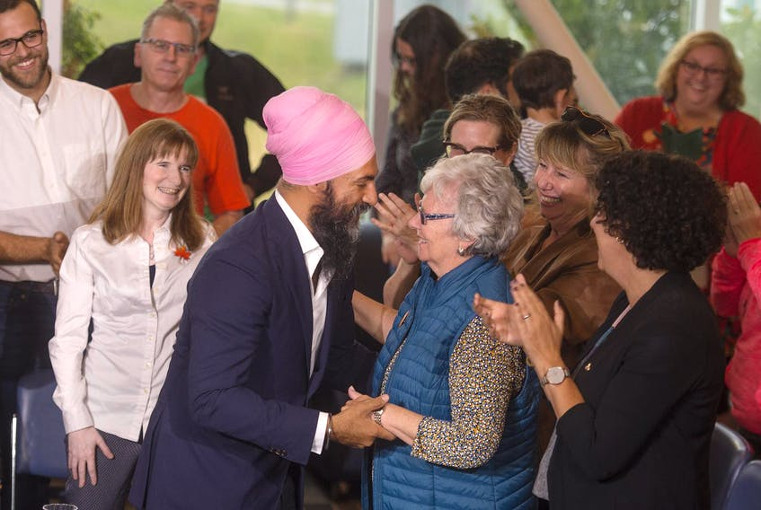 Federal NDP leader Jagmeet Singh speaks with longtime MP and former NDP leader Alexa McDonough after he arrived for a town hall-style meeting at the Nova Scotia Community College - Institute of Technology Campus on Monday afternoon.