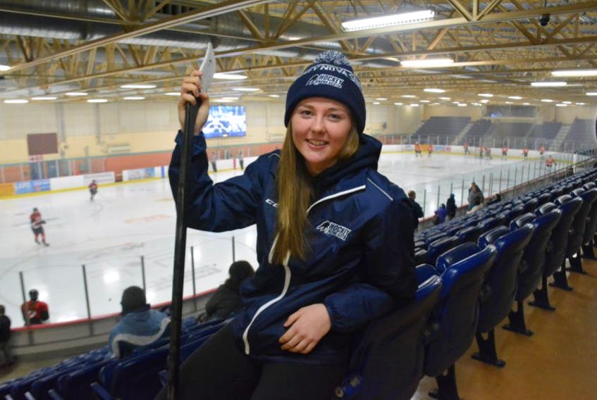 Allie Munroe of Yarmouth has been selected captain of Team Nova Scotia's women's hockey team for the Canada Games and has also been awarded a four-year, athletic scholarship to play Division 1 NCAA hockey at Syracuse University. TINA COMEAU PHOTO