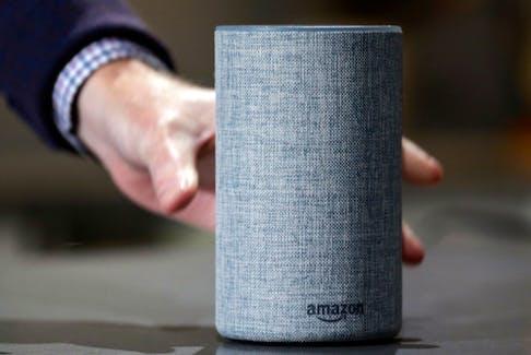 An Amazon Echo smart speaker.