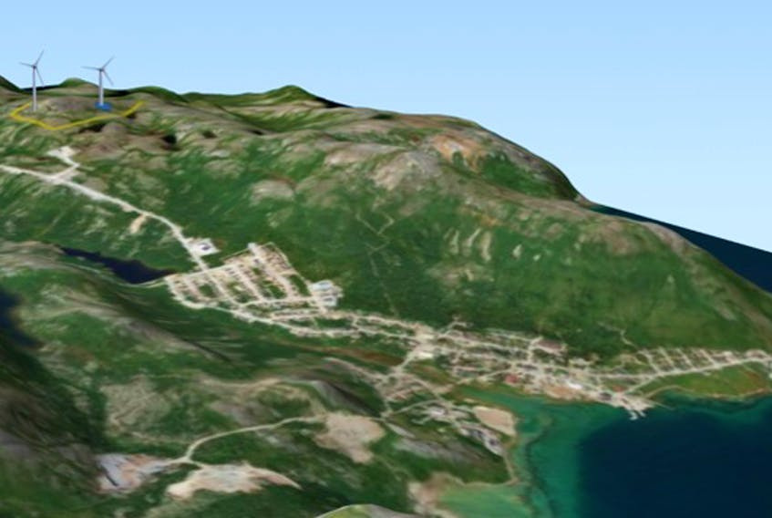 This concept drawing shows what the Nain wind power micro-grid project could look like when completed.