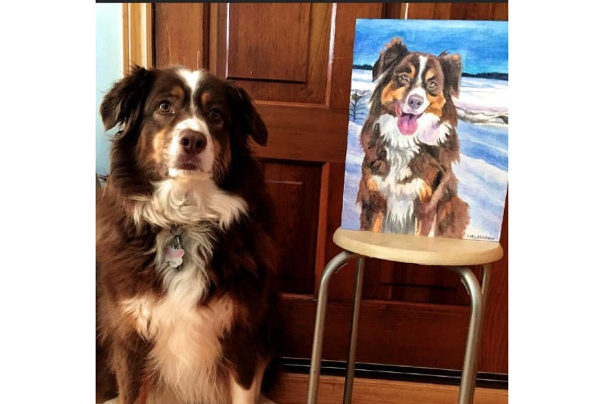Emilie Chiasson bought her parents a portrait of their dog, Jillie - pictured here beside the portrait - from a local business. Putting thought into selecting a present will help ensure it's a big success with the recipient.