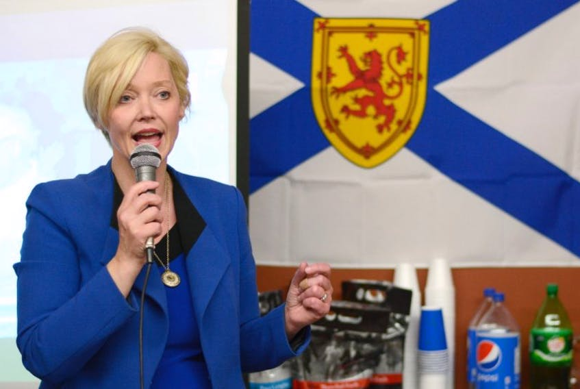 Cumberland North PC MLA-elect Elizabeth Smith-McCrossin speaks to her supporters after winning the riding during Tuesday's provincial election. She defeated incumbent Liberal MLA Terry Farrell.