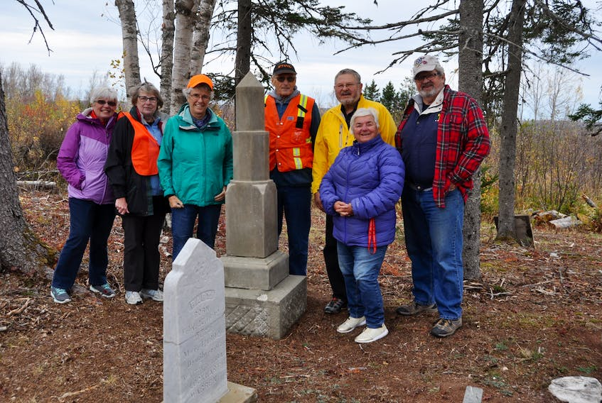Members of the Mattinson Hansford Family Cemetery Society welcomed board members of the W.B. Wells Heritage Foundation to their cemetery off Hansford Road last week. Among those on hand were (from left) Raelene Nash, Jill Mattinson, Nan Armour, Dave Hull, Morris Haugg, Pam Harrison and Ian MacLean.