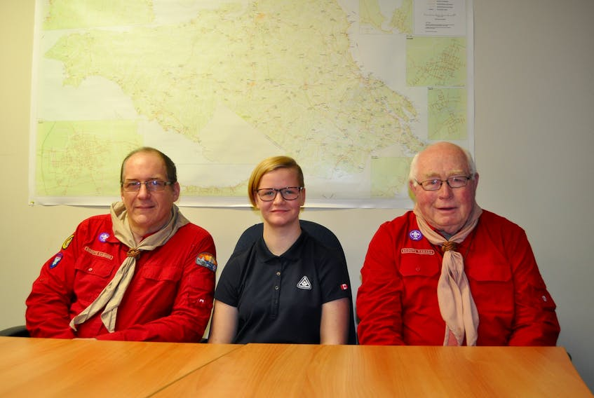 (From left) Frank Occomore, MacKenzie Sears and John MacKay are hoping to see scouting revitalized in Cumberland County, and are working toward that end. A new troop is expected to be up and running in Springhill by next month.
