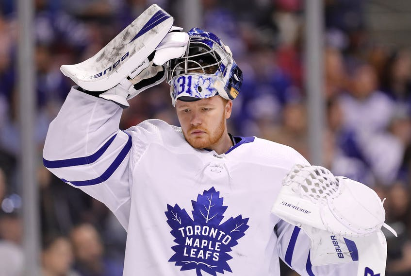 Frederik Andersen has made 50 starts so far this season, tying him for third-most in the NHL prior to games on Wednesday. (Michael Reaves/Getty Images)