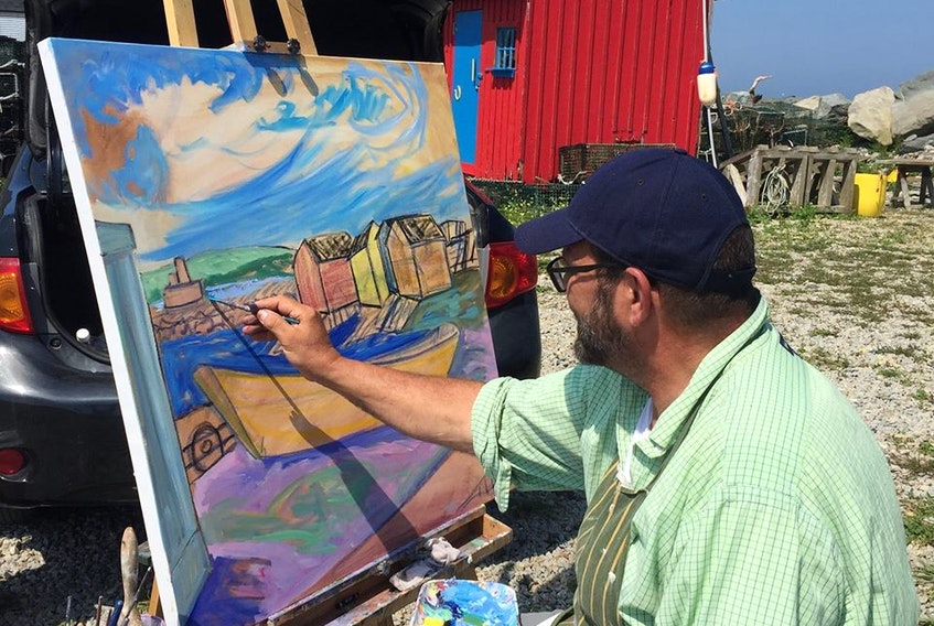 Andre Haines can often be found painting near the picturesque coastline of the South Shore. - Photo Contributed.