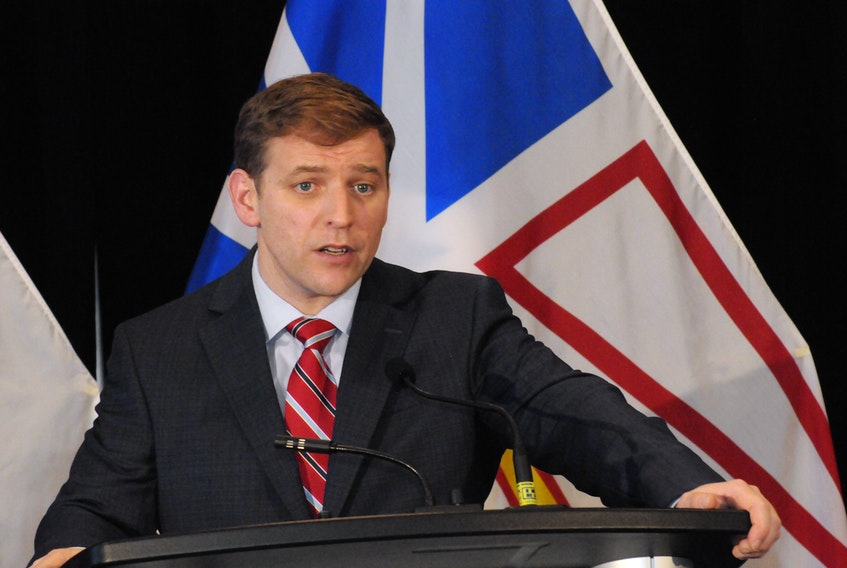 Liberal Leader Andrew Furey gives his victory speech at the Delta Hotel Saturday. -Joe Gibbons/The Telegram