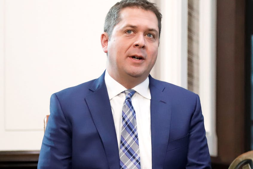 Conservative Party Leader Andrew Scheer during a meeting with Prime Minister Justin Trudeau on Nov. 12, 2019.
