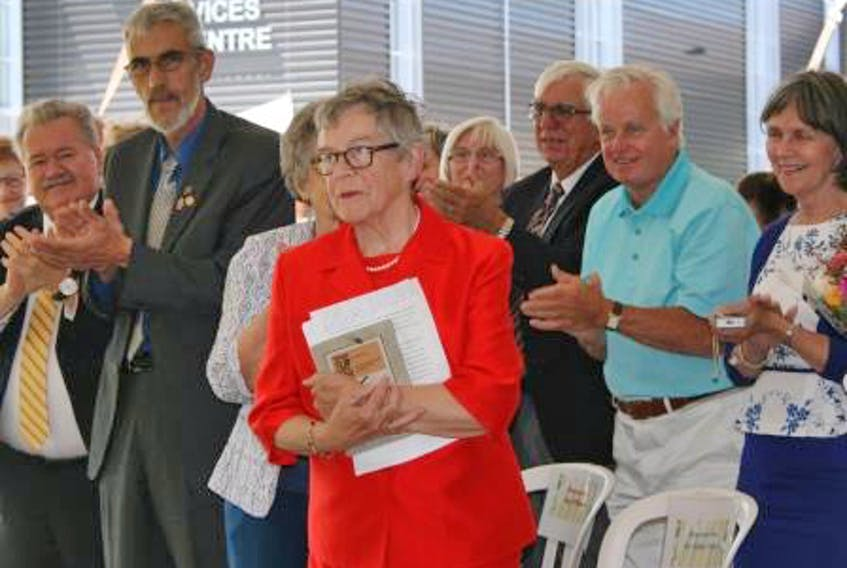 Dr. Anita Foley speaks in front of the new Dr. Anita Foley Health Services Centre, part of a renovation project at Guysborough Memorial Hospital, during a July 2016 dedication ceremony. Foley died May 25 at St. Martha's Regional Hospital. Contributed