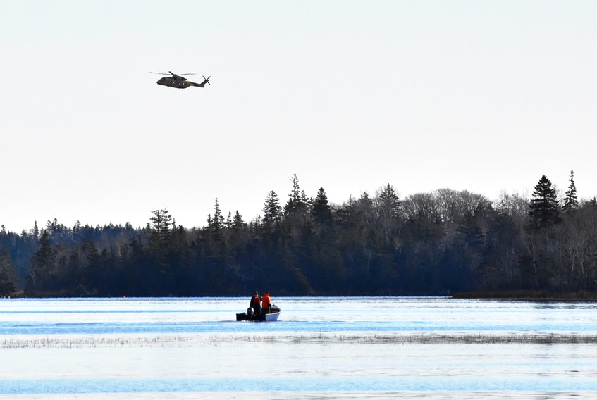 Searching from the air and the water for a missing person took place in the rural Yarmouth communities of Surette's Island and Morris Island on Jan. 13. TINA COMEAU PHOTO