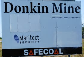 The sign at the entrance to the closed Donkin Mine. Provincial inspectors are investigating yet another rockfall in the mine, which now employs only a small maintenance crew. CAPE BRETON POST FILE