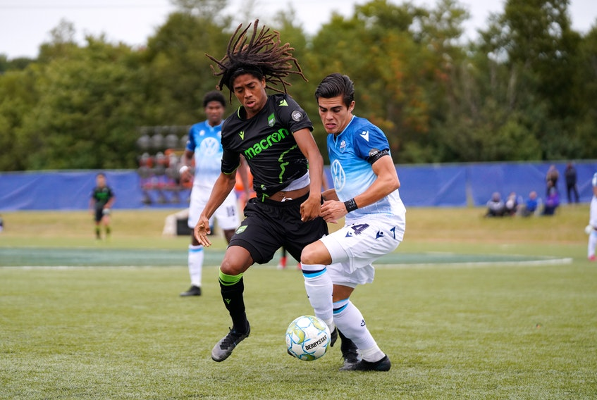 HFX Wanderers FC's Mateo Restrepo fends off a York9 FC player during Saturday's Canadian Premier League game in Charlottetown. (CANADIAN PREMIER LEAGUE)
