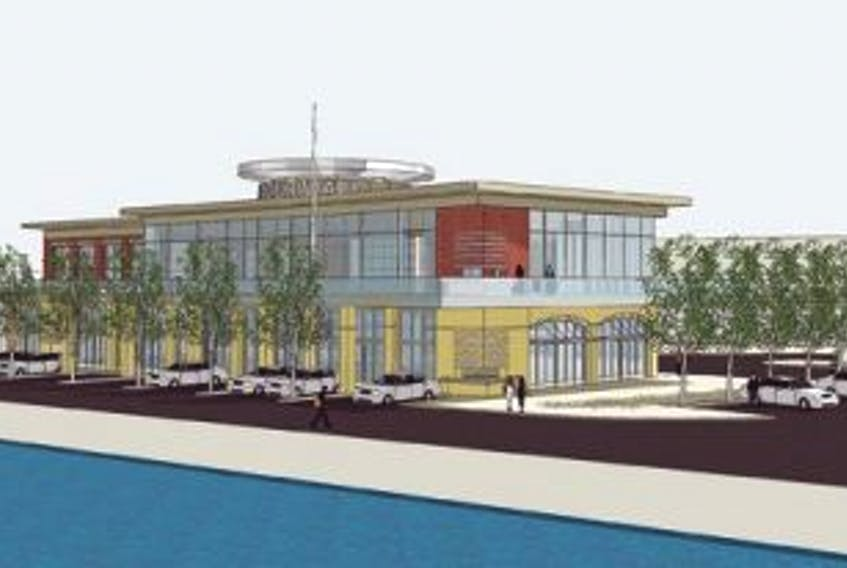 ['This architectural drawing shows what a proposed building, housing two restaurants, will look like.']