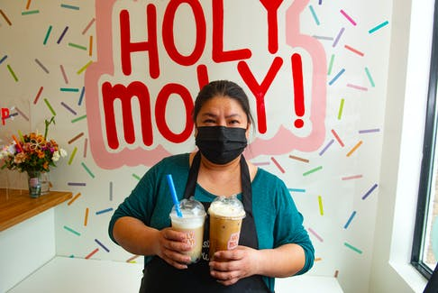 Cheery Atadero poses for a photo at her new business Holy Moly on Monday, March 29, 2021. Holy Moly opened up last month. on Woodlawn Rd. in Dartmouth. Ryan Taplin - The Chronicle Herald