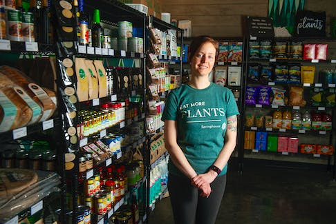 Jessie Doyle, co-owner of Springhouse, poses for a photo inside her store on Gottingen Street in Halifax on Monday, March 1, 2021. Springhouse has transitioned from a full-service restaurant to a plant-based market. Ryan Taplin - The Chronicle Herald