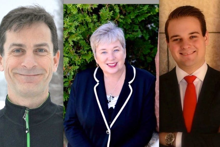 From left are candidates Alex Godbold, NDP; Bernadette Jordan, Liberal; and Richard Clark, Conservative. The three are vying for the South Shore-St. Margaret's formerly held by Conservative Gerald Keddy who has not re-offered.