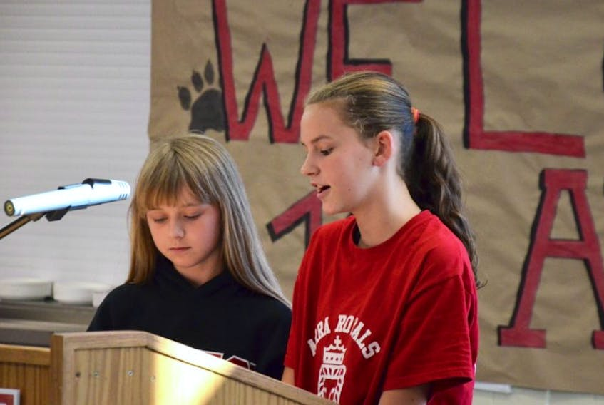 Grade 7 students Karlee Milbury and Matilda Microys talked about the renovations at Annapolis West Education Centre, the transition to a Grade 6 to 12 school, and what the changes meant to them. They were part of a post-renovations opening ceremony Monday. More than $6.9 million was spent on the upgrades over the last few years.