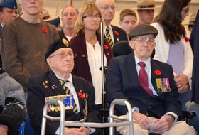It was standing room only as hundreds of people old and young alike packed the gymnasium for a Remembrance Day Service at the NSCC in Middleton Nov. 11, led by the Royal Canadian Legion. Wreaths were laid by numerous groups, organizations, and individuals. Music was provided by the Middleton Regional High School band, and those in attendance heard comments from Lt-Col. Sean Duggan, CO of 14 Air Maintenance Squadron at 14 Wing Greenwood.