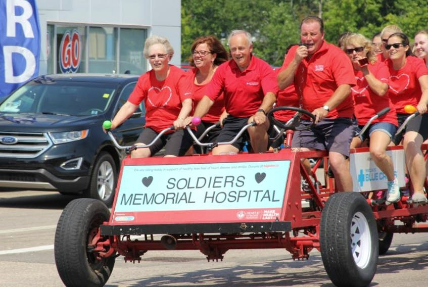 Leo Glavine, Minister of Health and Wellness, joined staff at Soldiers Memorial Hospital as part of the Big Bike team in an effort to raise money for the Heart and Stroke Foundation on Aug. 17. The team left Soldiers Memorial Hospital shortly after 2 p.m. for a big bike trip around the Town of Middleton.
