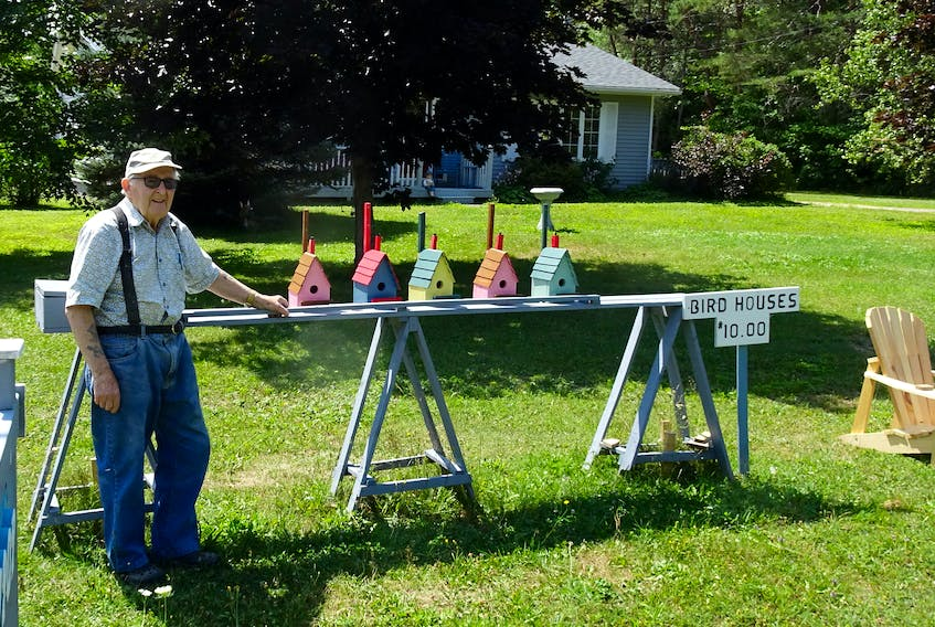 Ninety-three-year-old John Critchell — who lives in Martin's River, Mahone Bay, N.S, but grew up in Ramea on the south coast of Newfoundland — makes up to 300 birdhouses a year as part of his love of woodworking. He attributes his long life to hard work. — CONTRIBUTED