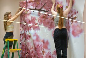 Emilee Heffern (left) of Paradise and Shannon Power of St. John's install a summer window display banner at Envy in the Avalon Mall Friday.  BARB SWEET/THE TELEGRAM