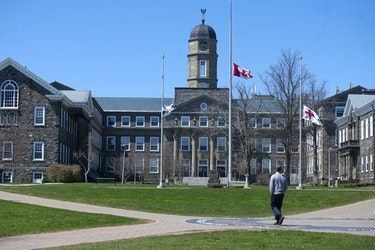 A man walks through the quiet Dalhousie campus on Monday, May 11, 2020. Universities in Atlantic Canada are optimistic about reopening for the fall semester -- if they get the OK from public health officials. Ryan Taplin - The Chronicle Herald
