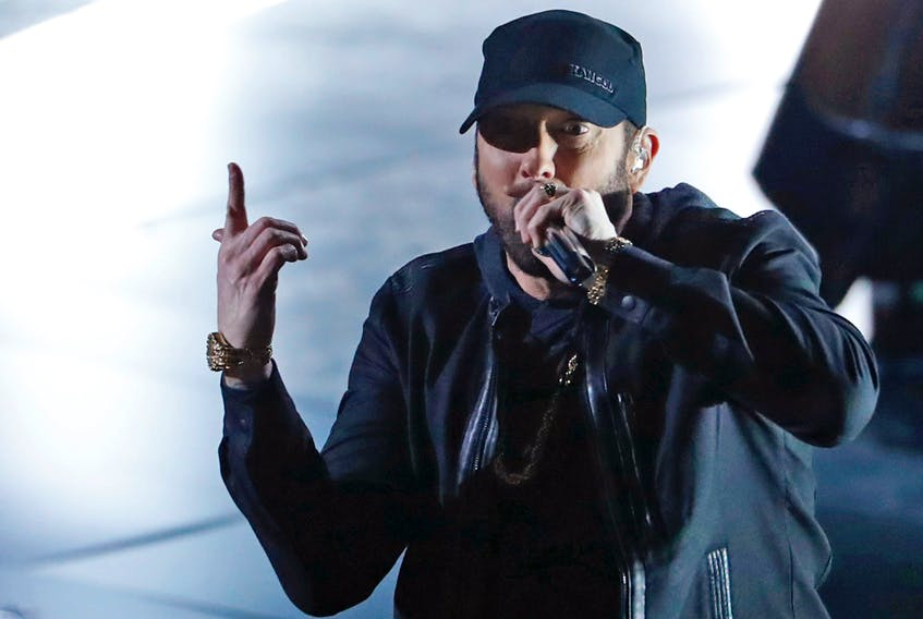 """Eminem performs """"Lose Yourself"""" at the 92nd Academy Awards in Hollywood, Los Angeles, California, U.S., February 9, 2020."""