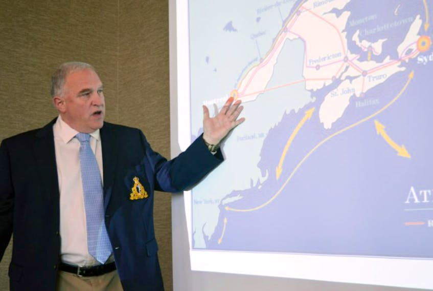 Barry Sheehy of Harbor Port Development Partners speaks during a briefing on progress made on the Sydney transshipment hub project at the Holiday Inn, on Tuesday July 7, 2015.
